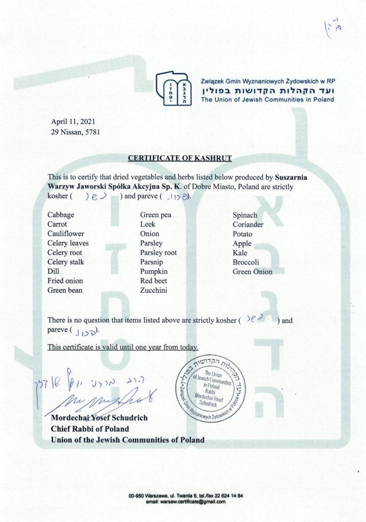 Certyfikat koszernosci